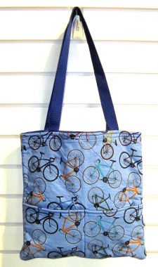 Joyce's Bicycle Fabric Tote Bag (blue)